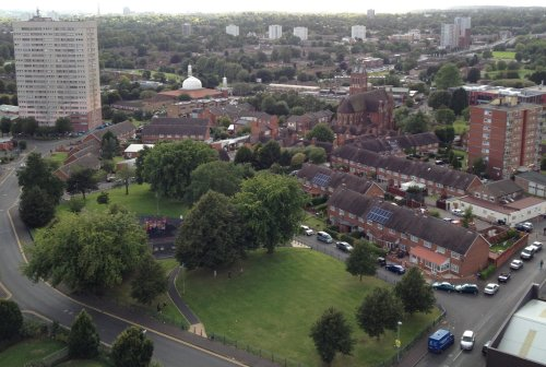 View of Highgate from Wilmcote Tower with St Alban's Church and the Birmingham Central Mosque