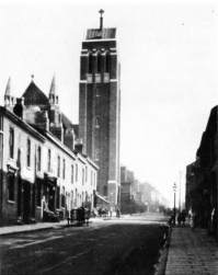 St Alban's Church with the Tower Designed by EF Reynolds Viewed from Conybere Street before the Clearence of the Back-to-Back Housing